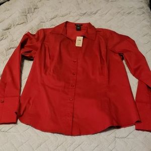 Brand new red button up long sleeved blouse